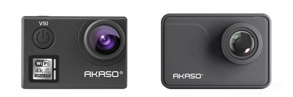 AKASO V50 and AKASO V50 Pro side by side. Two of the best action cameras under 100.